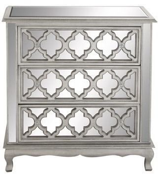 DecMode Decmode Contemporary Small 3-Drawer Silver Wood & Mirrored Cabinet w/ Crystal Rosette Handles
