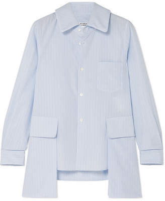 Comme des Garcons Layered Striped Cotton-poplin Shirt - Light blue