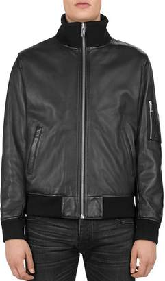 The Kooples Ribbed-Trim Leather Jacket