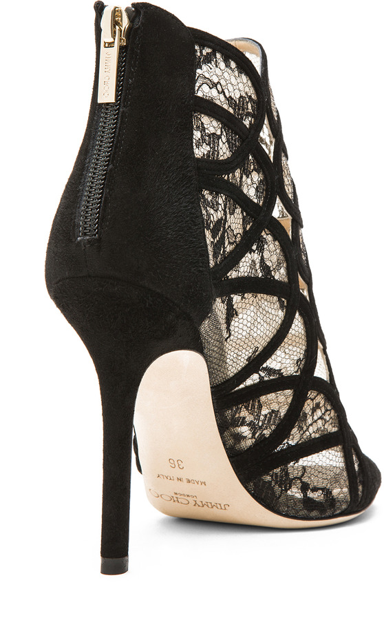 Jimmy Choo Fauna Suede Lace Booties in Black