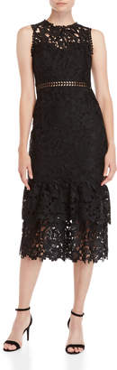 Shoshanna Dominick Lace Tiered Midi Cocktail Dress