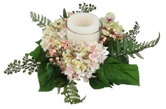 """Select Artificials 16"""" Decorative Artificial Pink and Green Hydrangea and Berry Hurricane Glass Candle Holder"""
