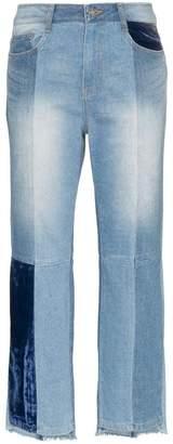 Sjyp velvet patch tomboy jeans