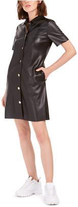 Bar III Faux-Leather Shirtdress