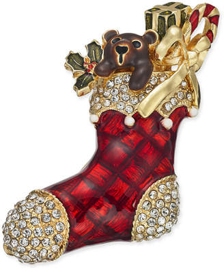 Charter Club Holiday Lane Gold-Tone Crystal & Epoxy Stocking Pin, Created for Macy's