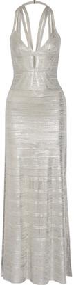Madeleine Cutout Metallic Pointelle-knit Bandage Gown - Silver