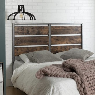 "Manor Park 48"" Rustic Urban Industrial Queen Size Metal and Wood Plank Panel Headboard - Brown"