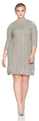 Jessica Howard Women's Plus Size Cold Shoulder Cable Knit Dress