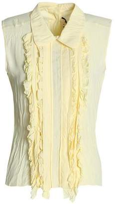 Marni Ruffle-Trimmed Crinkled Crepe De Chine Blouse