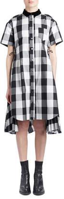 Sacai Short-Sleeve Button-Down Buffalo-Check Poplin Swing Dress w/ Cutout Back