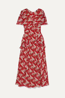 RIXO - Evie Ruffled Floral-print Silk Crepe De Chine Dress - Red