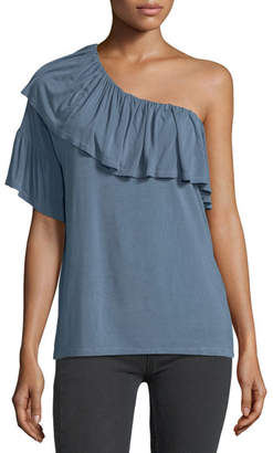 Paige Pax One-Shoulder Ruffled Jersey Top