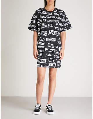 Moschino Slogan-print cotton-jersey dress