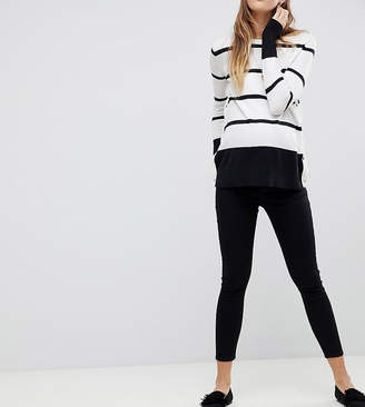 Asos DESIGN Maternity Whitby low rise skinny jeans with removable bump band in clean black