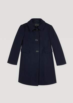 Emporio Armani Wool Broadcloth Coat With Two Buttons