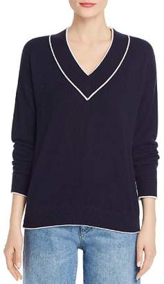 Minnie Rose Tipped V-Neck Cashmere Sweater