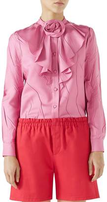 Gucci Rose Collar Wrinkled Silk Top