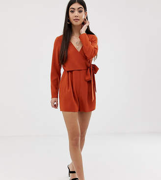 Asos DESIGN Petite wrap playsuit with tie side