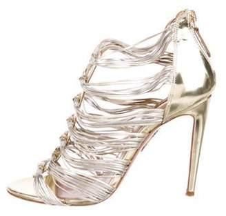 Aquazzura Leather Multi-Strap Sandals Gold Leather Multi-Strap Sandals
