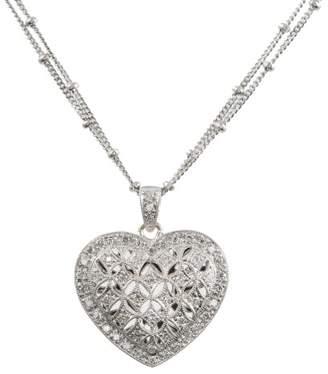 18K White Gold & 0.50ct. Diamond Heart Locket Pendant Necklace
