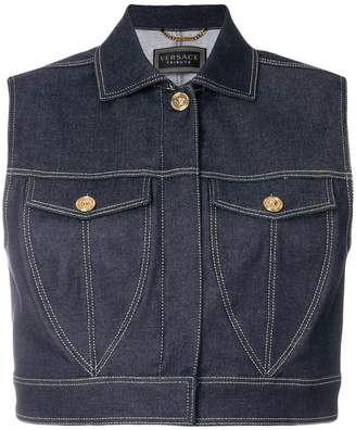 Versace cropped denim vest