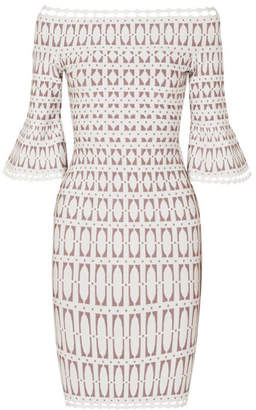 Herve Leger Off-the-shoulder Stretch Jacquard-knit Dress - White