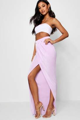 boohoo Draped Wrap Front Maxi Skirt