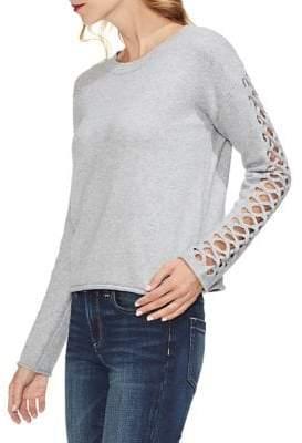 Vince Camuto Petite Estate Jewels Braided Heathered Sweater