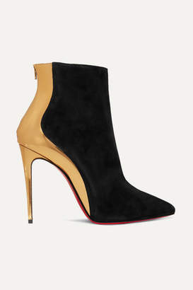 Christian Louboutin Delicotte 100 Suede And Mirrored-leather Ankle Boots - Black