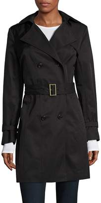 Cole Haan Women's Double Breasted Hood Trench Coat