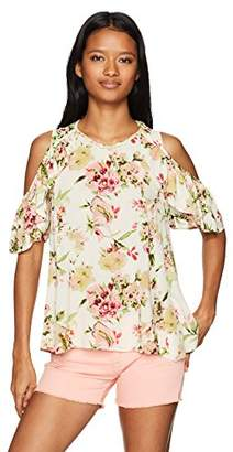 Angie Women's Printed Cold Shoulder Top