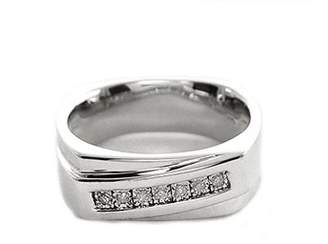 Generic Men's White Diamond Accent Seven-Stone Sterling Silver Ring