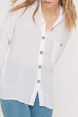 ALL IN FAVOR Oversized Buttoned Tunic Blouse