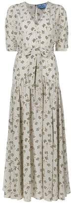 Prada floral tie waist dress