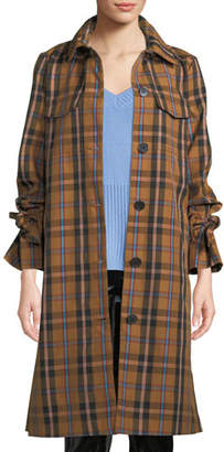 Derek Lam 10 Crosby Plaid Button-Front Long Coat
