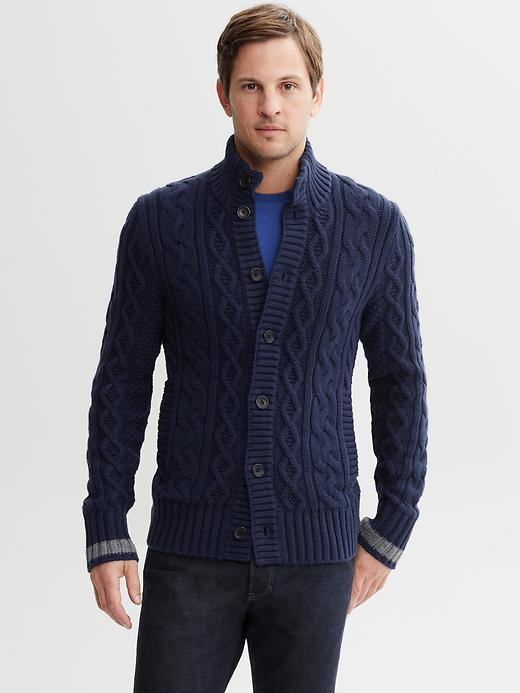 Banana Republic Tipped cable-knit cardigan