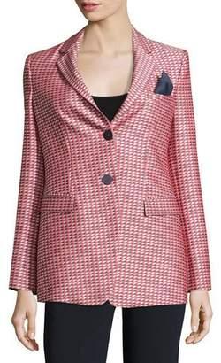 Armani Collezioni Geometric-Jacquard One-Button Jacket, Red/Multi