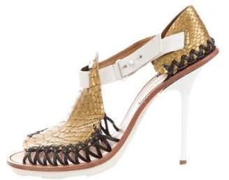 Thakoon Snakeskin Round-Toe Sandals