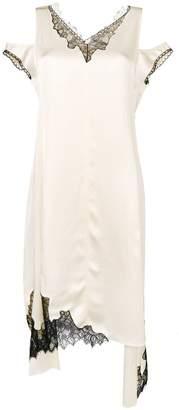 Helmut Lang asymmetric lace-detail midi dress