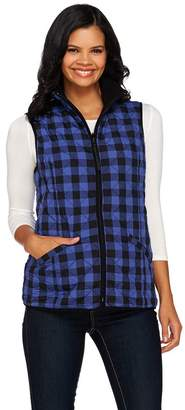 Susan Graver Weekend Printed Nylon and Polar Fleece Reversible Vest