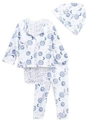 Offspring Flowers Reversible Jacket, Bodysuit, Pants, & Hat set (Baby Girls)