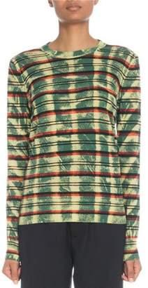 Proenza Schouler Crewneck Striped Tie-dye Cotton Sweater
