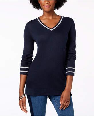 Charter Club Petite Striped-Trim Sweater