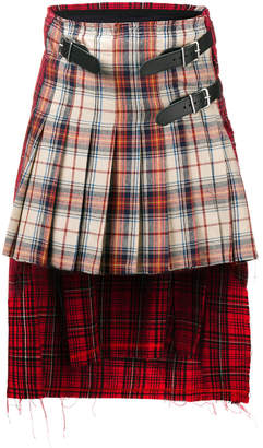 R 13 asymmetric tartan skirt