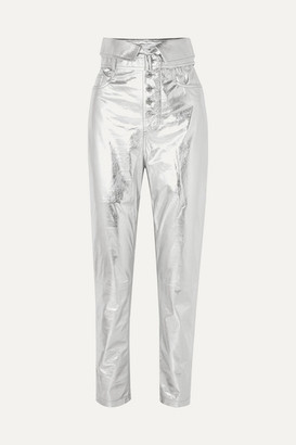 IRO Key Metallic Leather Tapered Pants - Silver