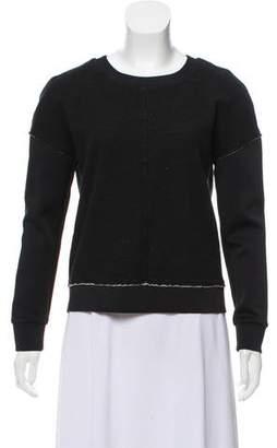 J Brand Crew Neck Raw-Edge Sweater