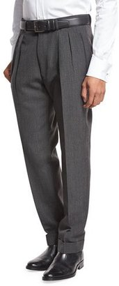 TOM FORD Double-Pleated Trousers, Gray $1,360 thestylecure.com