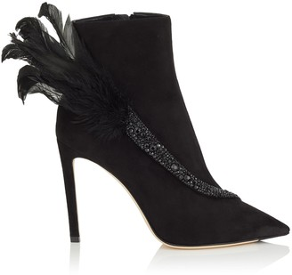 Jimmy Choo TANYA 100 Black Suede Booties with Crystals and Feathers