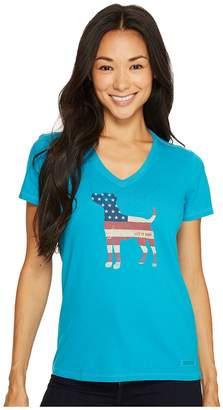 Life is Good Dog Flag Crusher Vee Women's Short Sleeve Pullover