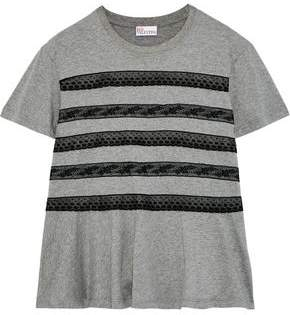 RED Valentino Lace-Trimmed Cotton-Jersey T-Shirt